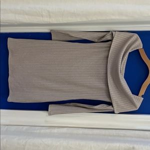 Tan long sleeve off the shoulder mini dress
